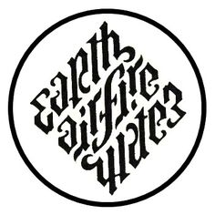 Four elements ambigram. OMG this is the symbol Dan brown used in angels & demons for the illuminati symbol.