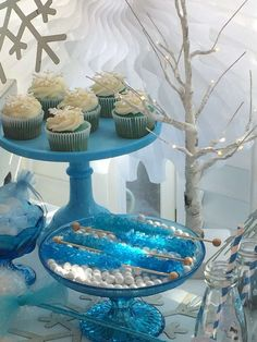 Blue rock candy at a Frozen birthday party! See more party planning ideas at CatchMyParty.com!
