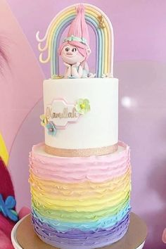 Don't miss this colorful Trolls themed birthday party! The birthday cake is stunning! See more party ideas and share yours at Catchmyparty.com #catchmyparty #partyideas #trolls #trollsparty #girlbirthdayparty Trolls Birthday Party, Troll Party, Birthday Party Themes, Birthday Cake, Bridal Shower Cakes, Baby Shower Cakes, Rainbow Parties, Rustic Cake, Holiday Cakes