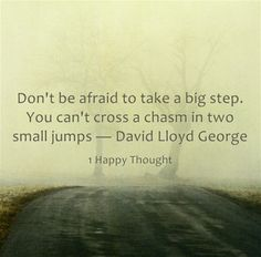 Don't be afraid to take a big step. You can't cross a chasm in two small jumps - David Lloyd George