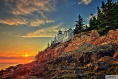 """""""The waters around Mount Desert Island are littered with shipwrecks."""" By 1855 there had been so many shipwrecks that it was decided a lighthouse was needed. Bass Harbor Head Lighthouse on Mount Desert Island was built in 1858 and was completed in 1876. It's now a private residence but Bass Harbor Lighthouse remains a favorite shot for photographers. Photo by Kim Seng  www.fourpointsbangorairport.com"""
