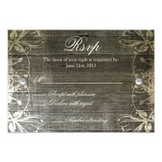 This Country Lace and Wood Rustic RSVP Card