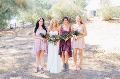 Bridesmaids in lilac Free People dresses