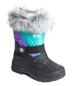 This JANDS by Transco Purple & Aqua Faux Fur Snow Boot by JANDS by Transco is perfect! #zulilyfinds