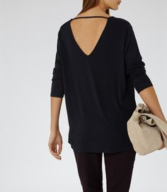 Womens Night Navy V-back Jumper - Reiss Laverne
