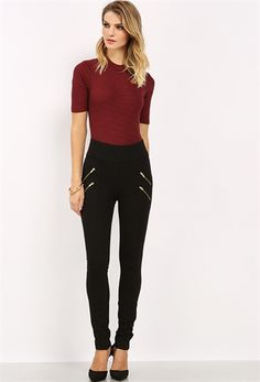 zipper pointed jeggings