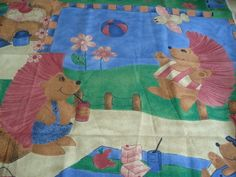Fabric FQ - Henrietta/Horace Hedgehog - Summertime in pinks/blues   -  21   x20
