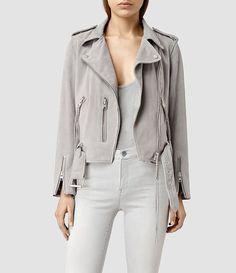 Womens Plait Balfern Biker Jacket (Light Grey) - product_image_alt_text_1