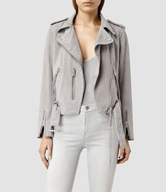 Womens Plait Balfern Biker Jacket (Light Grey) - product_image_alt_text_1