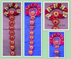Artificial Poola Jada made with artificial pink flowers,artificial jasmine buds and artificial gold roses.