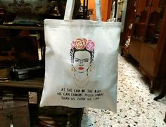 """Frida Khalo totte bag """"Join us we have cookies"""", handpainted bag, natural cotton bag, design, shopping bag, fashion, flowers, quote Plastic Shopping Bags, Cellophane Bags, Bag Design, Stencil Painting, Market Bag, Cotton Bag, Canvas Tote Bags, Diaper Bag, Join"""