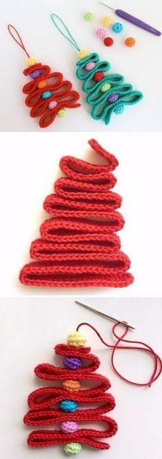 Crochet Ribbon Christmas Tree Pattern.