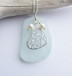 HEARTS in HEART - Sea Glass from Scotland Sterling Silver Necklace £25.50