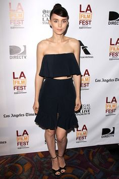 Ain't Them Bodies Saints screening, LA - June 15 2013  Rooney Mara in a cropped top and skirt from the JW Anderson spring/summer 2013 collection and Jimmy Choo heels.