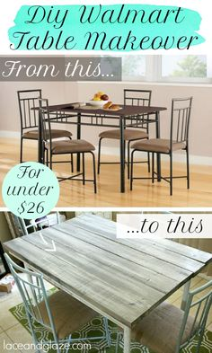 Take a Walmart dining table and make it into something beachy chic! For under $26! Great tutorial from Lace & Glaze. #diy #diningtable