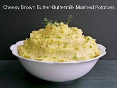 Cheesy Brown Butter-Buttermilk Mashed Potatoes the perfect holiday side dish. From NoblePig.com