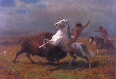 Indians Hunting Buffalo,c.1888 | Bierstadt | Fine Arts Museums of San Francisco California USA