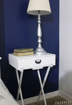 NIGHT STAND OUT OF TV TRAYS pottery barn knockoff diy nightstand, diy, painted furniture, woodworking projects