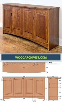 Walnut Sideboard Plans - Furniture Plans and Projects | WoodArchivist.com Easy Wood Projects, Woodworking Projects Diy, Woodworking Furniture, Furniture Plans, Furniture Making, Woodworking Plans, Diy Furniture, Shop Cabinets, Custom Kitchen Cabinets