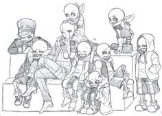 from here I see underfell, gaster!sans, underswap, swapfell, horrortale, and regular undertale classic sans.