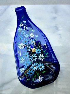 Wine Bottle Clock -Blue Wine Bottle Melted- Hand Painted-Garden Flowers