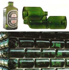 Fifty years ago, international brewmaster Alfred Heineken created what may to this day be the most brilliant beer bottle ever designed. After the liquid contents are consumed, the rectangular bottles  become standard-sized bricks that could be stacked to create attractive and rigid residential walls.