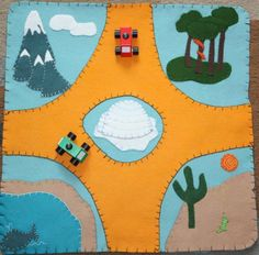 wool felt playmat  around the world by playdaytoys on Etsy, $60.00