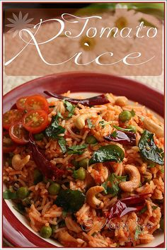 Spicy Tomato Rice: Lazy People's Version Indian Food Recipes, Vegetarian Recipes, Cooking Recipes, Ethnic Recipes, Easy Rice Recipes, Delicious Recipes, Tomato Rice, Vegan Main Dishes, South Indian Food
