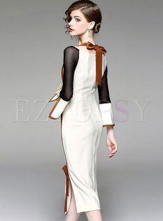 Stylish Flare Sleeve Slash Neck Bodycon Dress