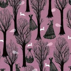 Cotton and Steel House Designer - SpellBound - Haunted Forest in Pearlized Lilac #fabric #Halloween