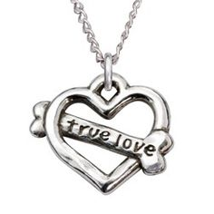 Sterling Silver Dog Lovers True Love Heart Bone Necklace - $69.99   Shop where every purchase helps shelter pets!