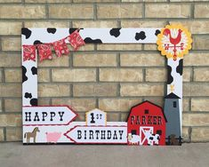 Farm Birthday Photo Booth frame // cow spots, paisley, barn, animals, customized with age and name Farm Animal Party, Farm Animal Birthday, Barnyard Party, Farm Party, Cowboy Birthday, Farm Birthday, 2nd Birthday Parties, Birthday Ideas, Horse Birthday