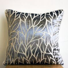 Decorative Throw Pillow Covers Couch Pillows Sofa Pillow Burnout Bed Pillow Case Velvet 16 x 16 Throw Pillow Cover Paloma Gray Leaves