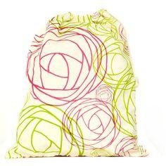 Give Love Roses Upcycled Drawstring Bag