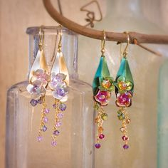 Holly Yashi - Best Sellers - Earrings - Double Orchid Earrings - inspired jewelry with luscious multi colored flowers.