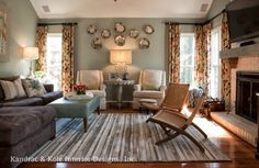 A Family Room Makeover - eclectic - family room - atlanta - Kandrac & Kole Interior Designs, Inc. - love the brown sectional w/blue ottoman