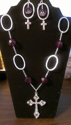 Purple beads and silver rings with large cross pendant and earrings...$26 Cross Pendant, Crosses, Angels, Silver Rings, Beads, Purple, Earrings, Jewelry, Beading