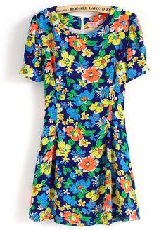 Blue Short Sleeve Floral Back Zipper Dress - Sheinside.com