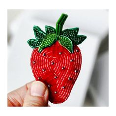 * bead embroidery strawberry brooch beaded