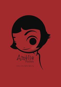 Cartoon poster of Amelie! Best Movie Posters, Minimal Movie Posters, Minimal Poster, Cinema Posters, Movie Poster Art, Amelie, Graphic Design Illustration, Illustration Art, Destin