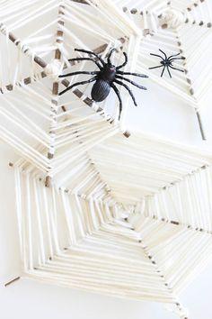 DIY Yarn Spider Webs