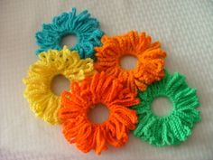 Great for both girls and ladies. These scrunchies make great hair accessories for both special occasions and every day! Cheer up a cloudy day with these bight, cheerful, colors. From my crochet hook to your home, have a beautiful day!