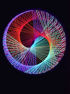 2D Stringart Spirale  Neon Multivitamin  Fadendeko Psy Deko Goa Party StringArt