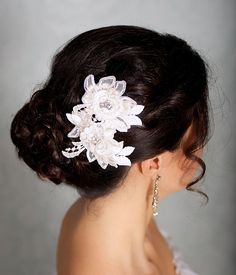 Ivory Hair Flowers Lace Headpiece Bridal Hair by GildedShadows
