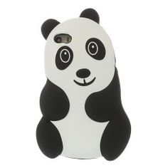 iphone 5, 5s Panda silicone Cover, hoesje, case zwart