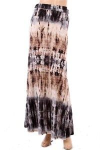 Black/Taupe Tie-Dyed Maxi Skirt