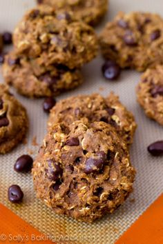 Healthy Oatmeal Raisinet Cookies by Sally's Baking Addiction. Recipe for low fat healthy oatmeal cookies with chocolate chips, raisins, and no butter or oil.