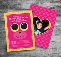 Beanie Boo Birthday Party Invitation  5x7  by MyInvitationShoppe