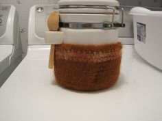 This bowl was made with 4 ply brown wool and a bulky wool yarn as the accent