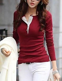 De las mujeres Simple / Chic de Calle Casual/Diario Primavera / Otoño / Invierno Camiseta,Escote Redondo Un Color Manga LargaAlgodón /